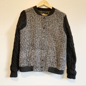 New with tag black cable knit sleeves bomber jacket